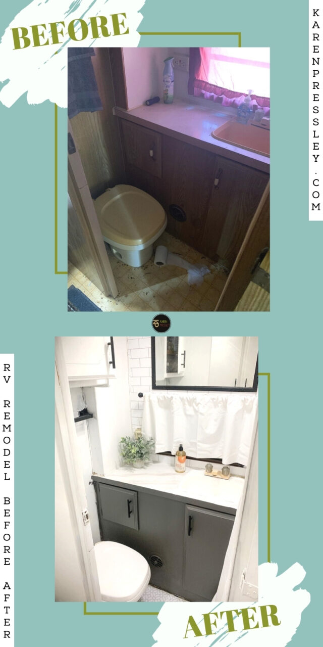 before and after shower rv remodel