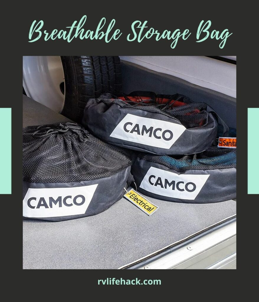 rv sewer hose connected storage